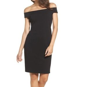 Eliza J Black Off the Shoulder Sheath Dress